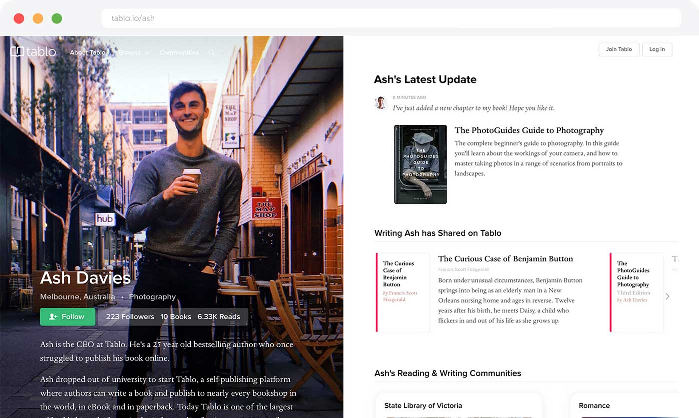 Tablo author profiles browser